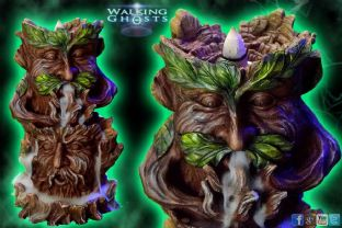 Backflow Incense Sculpture Tree Spirit Green Man Dry Ice Effect Wicca Magick UK